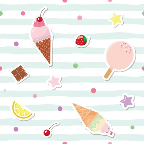 Festive seamless pattern with cute stickers on striped background. For birthday and scrapbook design.