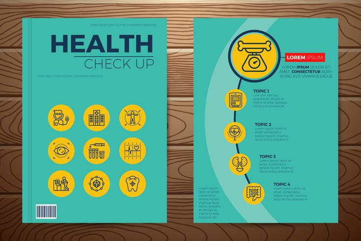 Chequeo médico y sanitario de la portada del libro. vector