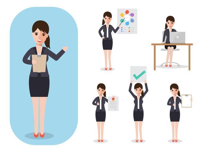 Satz der Geschäftsfrau bei der Arbeit.