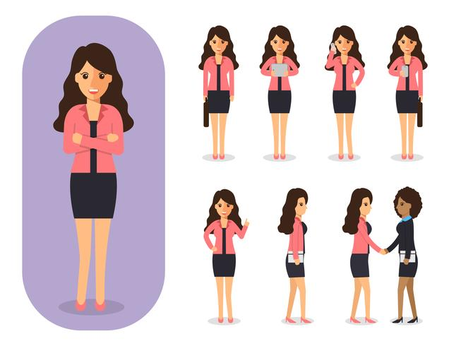 Set of businesswoman at work.  vector