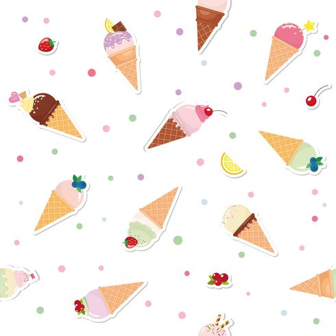 Festive seamless pattern background with paper cutout ice cream cones, fruits and polka dots. For print and web.