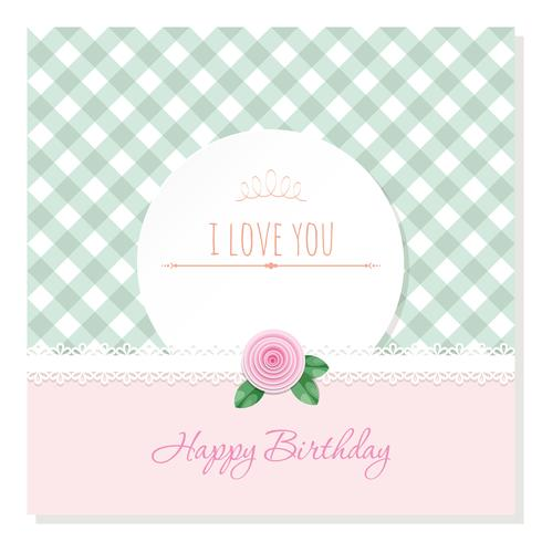 Birthday greeting card template. Round frame on plaid background. Shabby chic design. vector