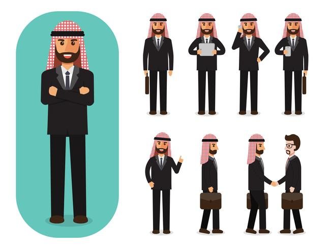 Set of businessman at work.  vector