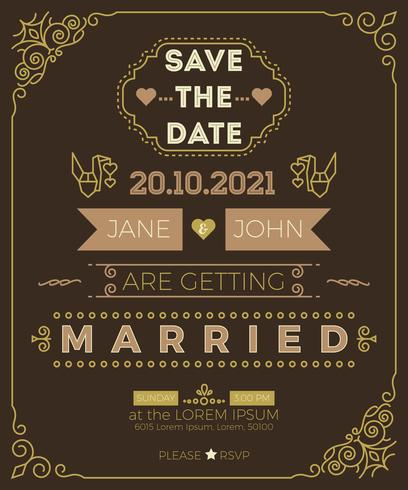 Vintage Wedding Invitation Card Template Download Free