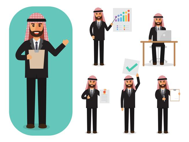 Set of businessman at work.  vector
