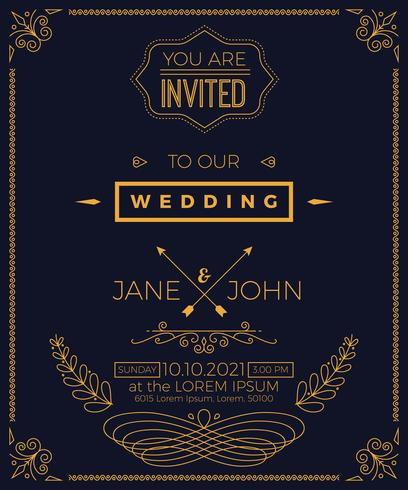 Vintage Wedding Invitation Card Template Download Free