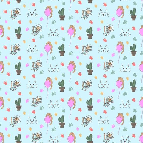 Cat doodles seamless pattern, astronaut