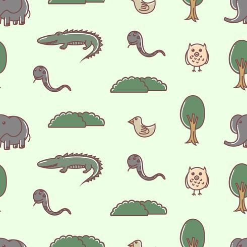 Cute animal seamless pattern