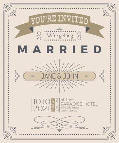 Tarjeta de invitación de boda de la vendimia vector