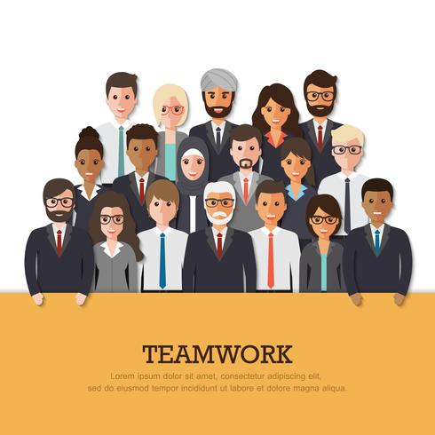 Grupp av affärsman och affärskvinna. vektor