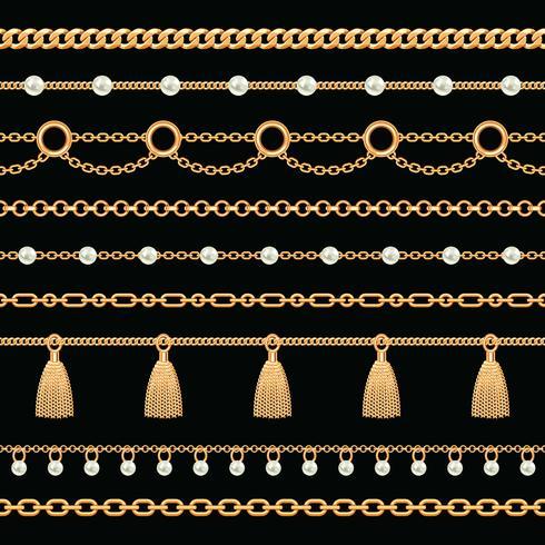 Verzameling van gouden metalen ketting randen met parels en kwasten instellen. Op zwart. Vector illustratie