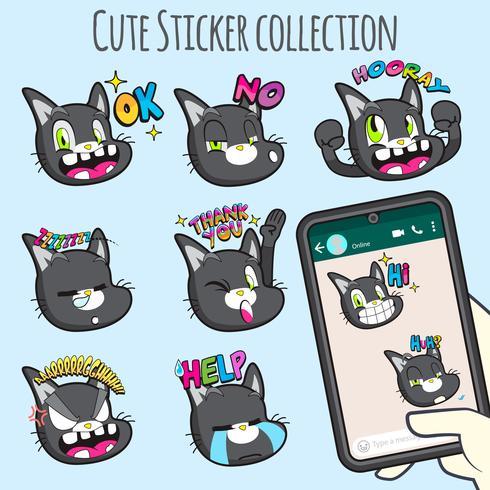 cute cat emoji sticker collections