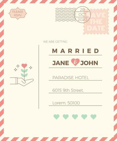 Modèle de carte d'invitation de mariage Vintage