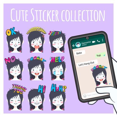 cute girl emoji sticker collection