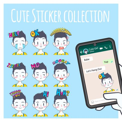 collezione di adesivi emoji ragazzo carino