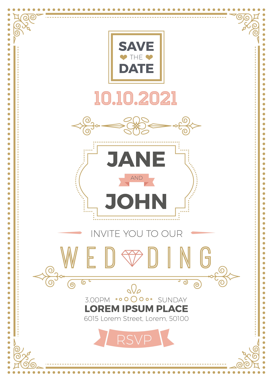 vintage wedding invitation card  download free vectors