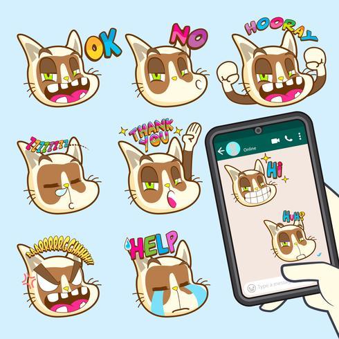 Cute cat emoji sticker colecciones