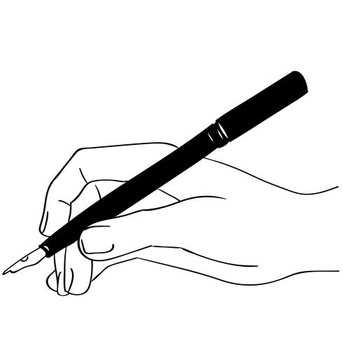 hand som håller en penna
