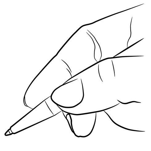Hand hält einen Stift