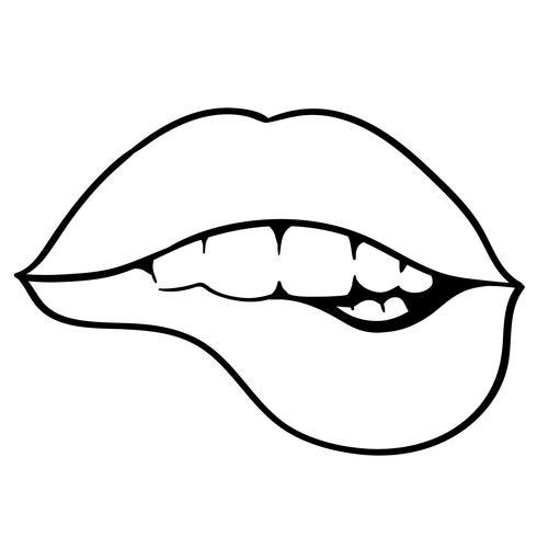 Lippen beißen Vektor
