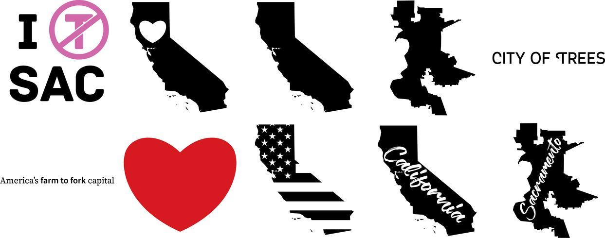 mappa degli Stati Uniti di Sacramento California