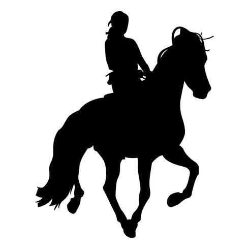 ridande en hästsilhouette