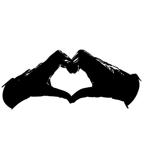 vector de corazón de la mano