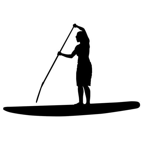 paddleboarding vector eps