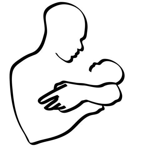 vader die een baby draagt