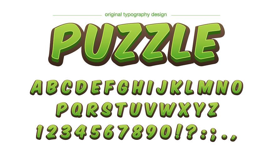 Diseño de tipografía de dibujos animados verde negrita vector