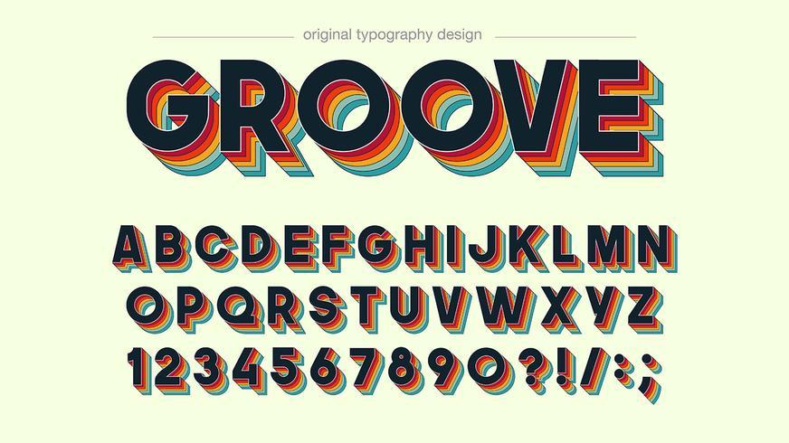 Bunter Typografieentwurf der Retro Nut