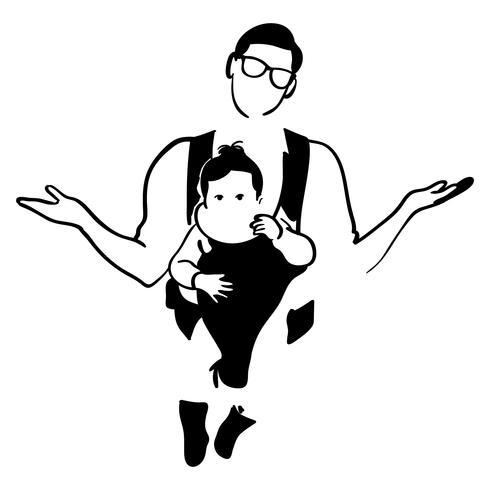 père portant un bébé