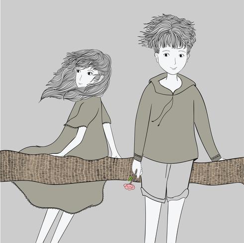 Die junge Frau und der junge Mann sind zusammen unter dem Baum