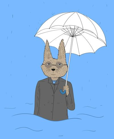 Gli occhi di coniglio portano gli occhiali con gli ombrelli stanchi di lavorare. Il coniglio è stato duramente colpito da forti piogge vettore