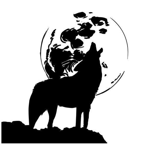 vetor de lobo uivando