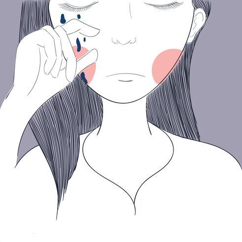 Frauen weinen Malerei in rosa Oberfläche.