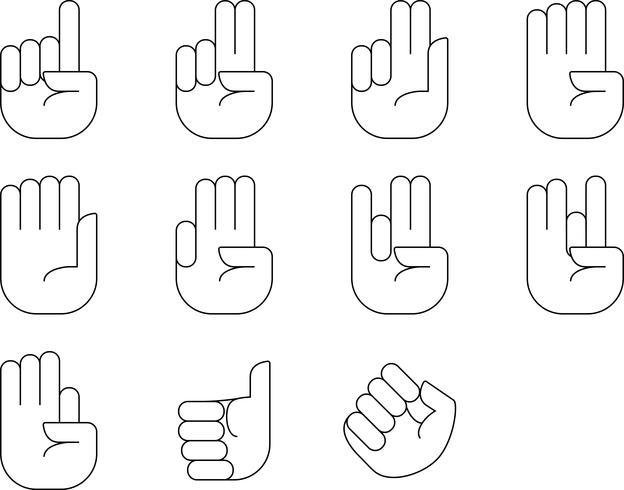 Hand zählen Zeichen Vektor