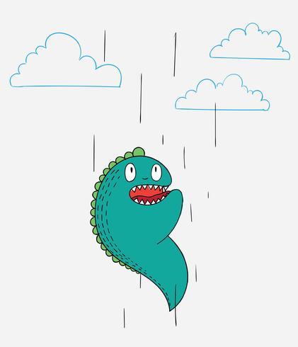 Dibujos animados de animales el monstruo lindo diseño de personajes de vectores