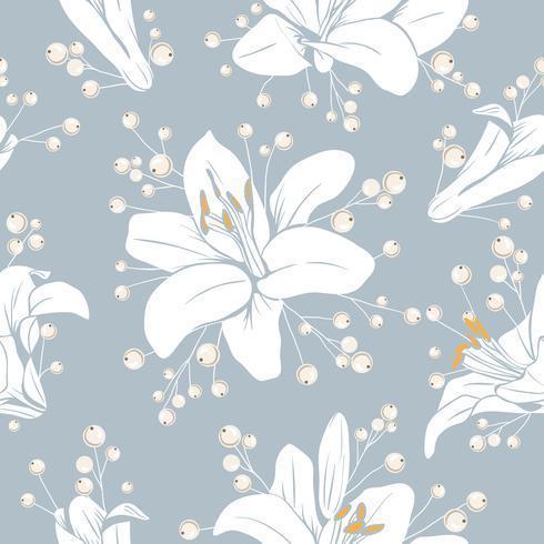 Nahtloses Muster mit Blumen. Lilium Blumenbeschaffenheit. Hand gezeichnete botanische Vektorillustration
