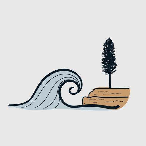 Vector line art Doodle.waves en la playa que advierte desastres naturales tsunami
