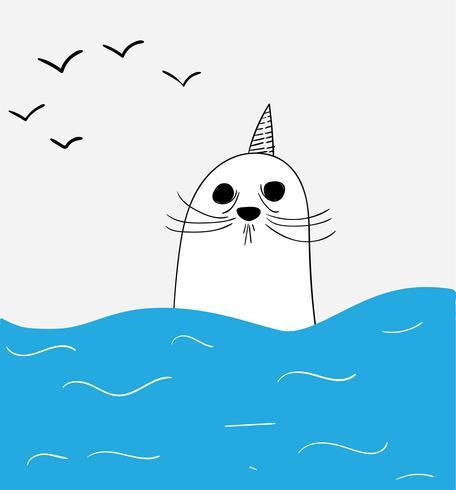 Seehunde am Meeresboden vektor
