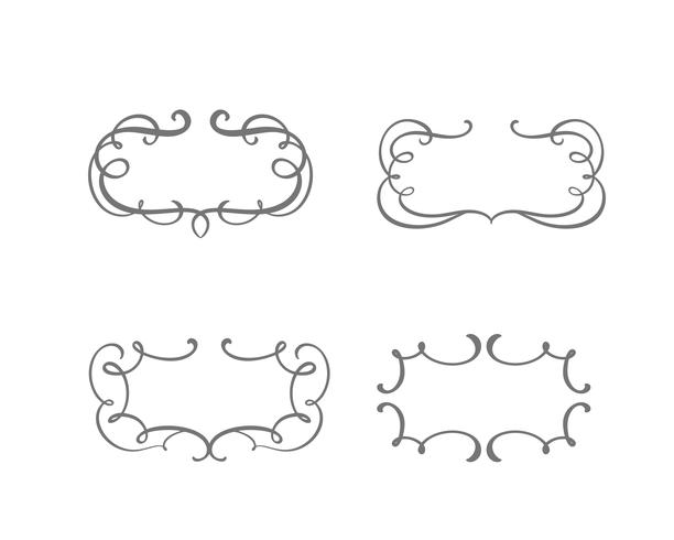 Vector vintage set of border frames engraving with retro ornament in antique rococo style decorative design