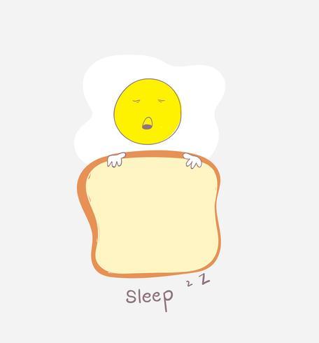 L'uovo carino sta dormendo con il pane che ha preso come coperta