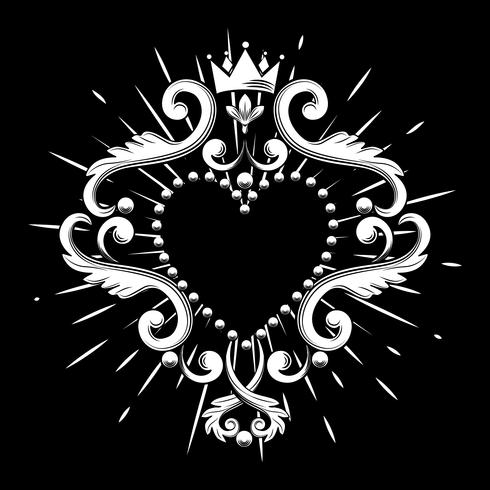 Beautiful ornamental heart with crown in white color isolated on black background. Vector illustration