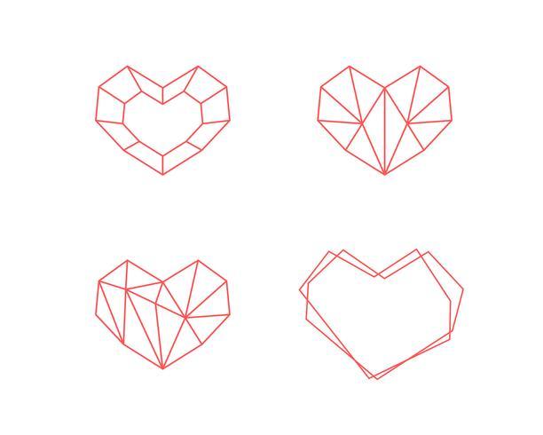 Geometrische Herzform-Sammlung. Satz Herzlogos im Vektor. Herz Logo Symbol und Ikonen-Valentinstag