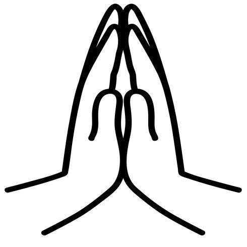 vetor de mãos a rezar