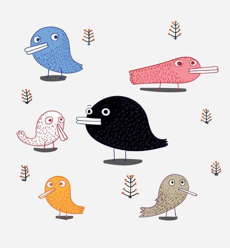 Una serie di uccelli sono nell'album. Uccello carino in tema vettoriale