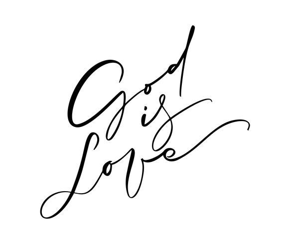 Dieu est amour calligraphie vectorielle manuscrite texte écrit à la main. Citation de christianisme pour la conception, bannière, superposition d'affiche photo, conception de vêtements