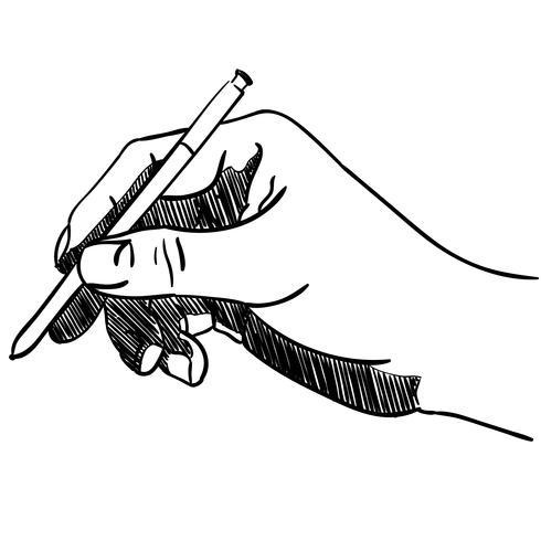 hand met een pen