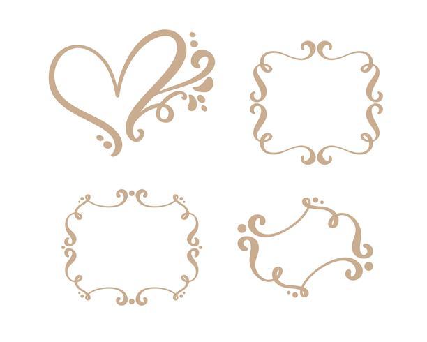 Vector vintage conjunto de marcos de frontera grabado con adorno retro en un diseño decorativo de estilo rococó antiguo